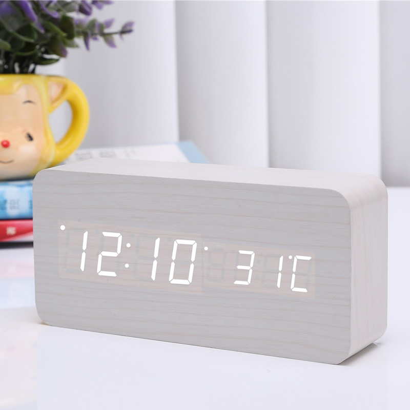 LED Digital Alarm Clock Wooden Wireless Charging Charger Thermometer Voice Control J2Y