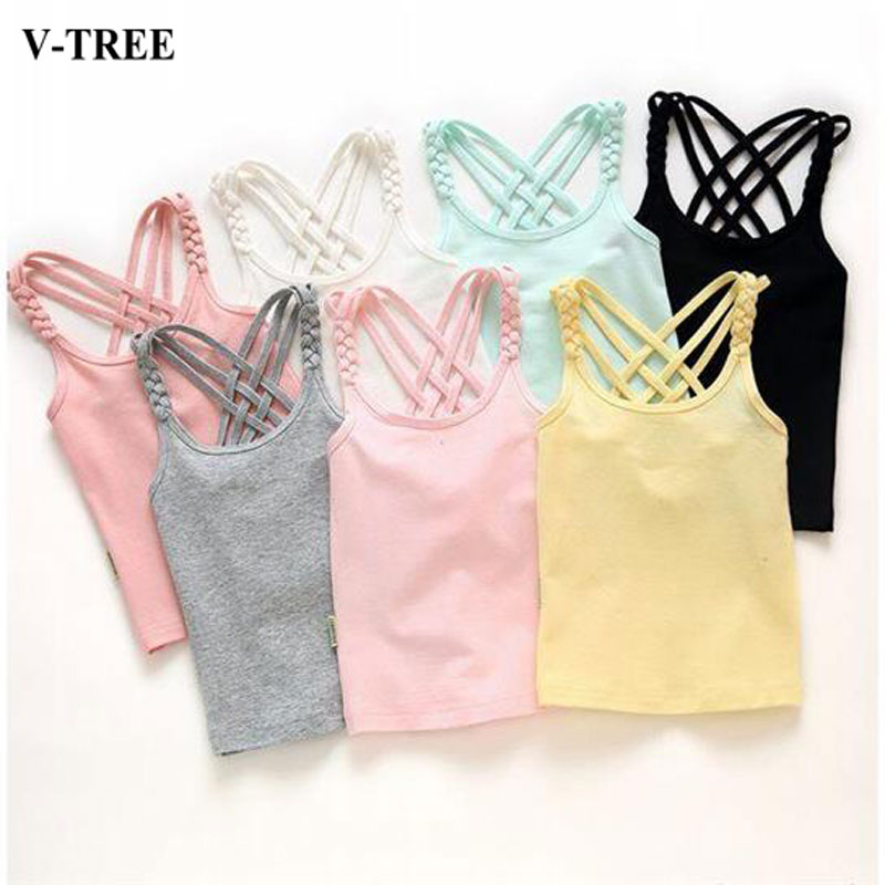 2019 Girls Summer Tank Tops Cotton Kids Underwear Model Candy Color Girl Camisole Baby Singlets Children Undershirt Sports Top