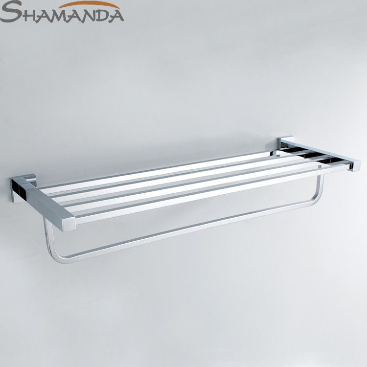 Sale Free Shipping Bathroom Accessories Products Solid Made Chrome Finished Double-deck Towel Rack,towel Bar Holder-94018 direct selling hot sale bolt inserting type free shipping bathroom accessories solid chrome double shelf wholesale 84012