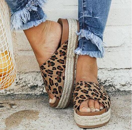 Sexy leopard sandalen Sommer Frauen hausschuhe offene spitze Plattform Casual schuhe Damen Outdoor Strand flip-flops Weibliche Slides Mädchen 334