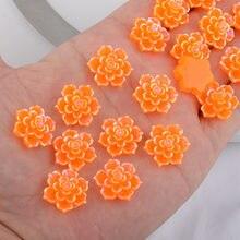 BOLIAO Hiçbir Delik 10 Adet 20*20mm (0.79 * 0.79in) çiçek Şekli Turuncu Reçine Rhinestone Flatback Aplikler/El Sanatları/Düğün Dekorasyon