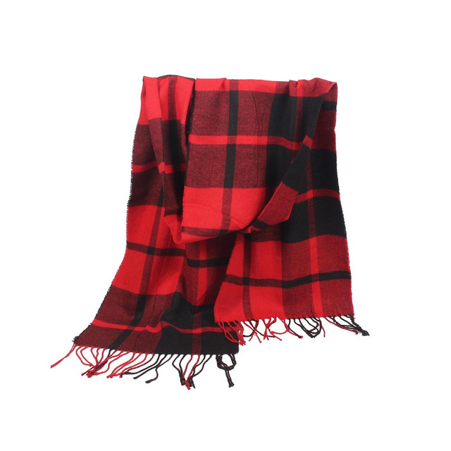Plaid Checkered Scarf Red and Black for Man and Woman