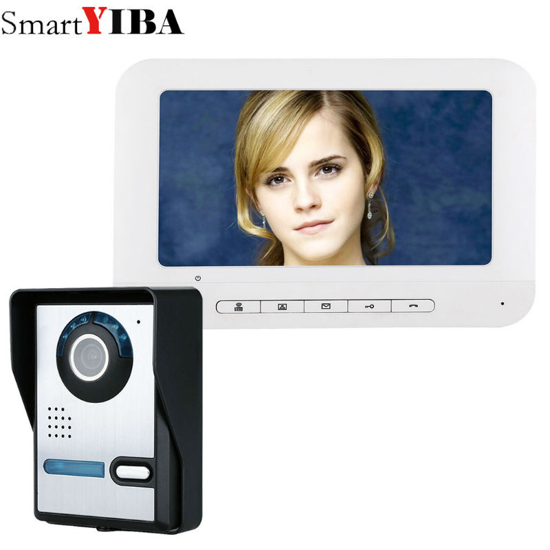 SmartYIBA 7 Inch TFT Video Door Phone Doorbell Intercom Kit 1-camera 1-monitor Night Vision with IR-CUT HD 700TVL Camera 7 inch color tft lcd wired video door phone home doorbell intercom camera system with 1 camera 1 monitor support night vision