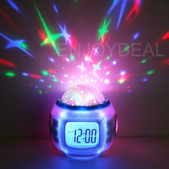 Top Music Starry Star Sky Projection Colorful Alarm Clock Calendar Thermometer - Fashion's _Store store