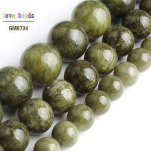 Trawa zielona kamień koraliki Jades kule do tworzenia biżuterii 15 ''Strand DIY bransoletka biżuteria 6mm 8mm 10mm