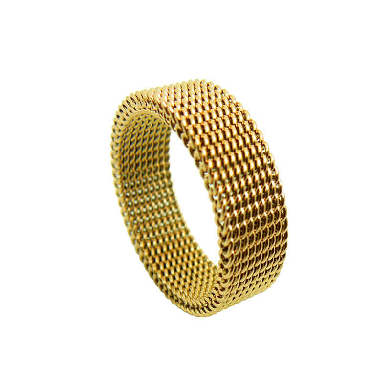 Wide 8mm Jewelery Soft Mesh Titanium Steel Ring Variability Gold Titanium Steel Rings Fine Jewelry Rings For Women Wedding Rings