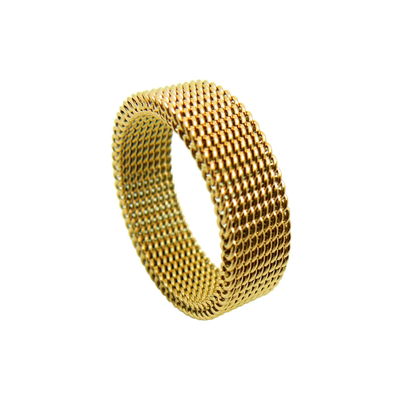 Wide 8mm Jewelery Soft Mesh Titanium Steel Ring Variability Gold Titanium Steel Rings Fine Jewelry Rings For Women Wedding Rings
