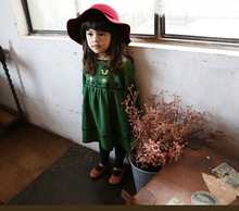 Girls spring fashion embroidery long sleeve dress , baby clothing girl , kids clothes girls , 6pcs/lot   YSY14