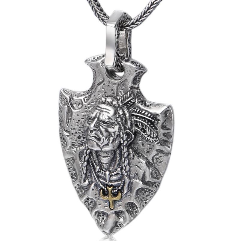 Pure Silver Sterling 925 Silver Jewelry Indian Feather Eagle Shield Pendant (FGL)