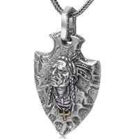 Sterling 925 Silver Jewelry Indian Feather Eagle Shield Pendant (FGL)