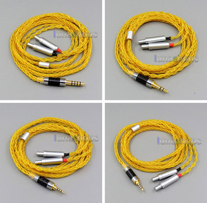 Gold 8 core 2.5mm 3.5mm 4.4mm Balanced Pure Silver Plated Copper Earphone Cable For Sennheiser HD800 D1000 HD800s LN006093(China)