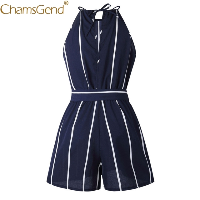 Sexy Off Shoulder Striped Chiffon Jumpsuit Playsuit
