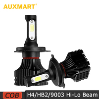 H4 Silver Hi Lo Beam LED Car Headlight Bulbs Cool White 6500K 8000LM Driving Headlight For