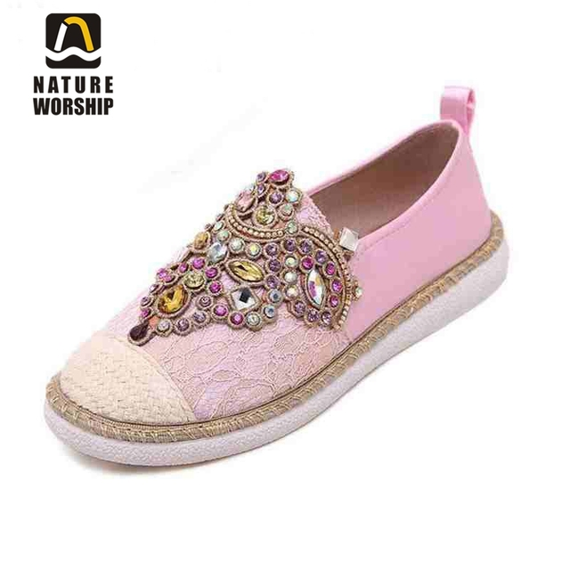 Hot sales 2018 women fashion Flats Shoes Spring Autumn Comfortable Women Loafer shoes Slip-On Round Toe Rhinestone Casual Shoes