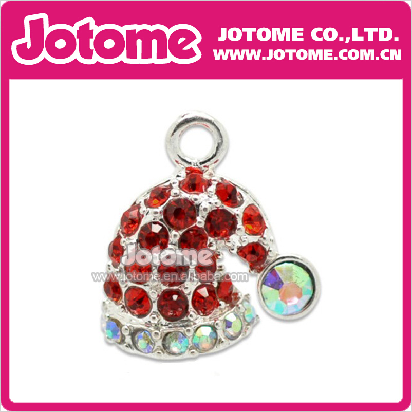 Wholesale New Hot Sale Fashion Crystal Rhinestone Christmas hat Pendant / Button / Brooch, Free Shipping