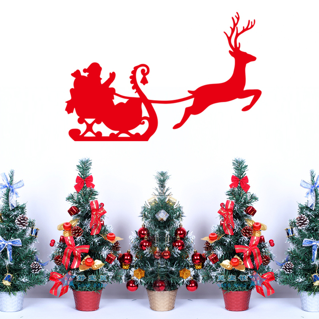 Red deer christmas wall stickers home decoration removable stickers wall vinyl window glass stickers living