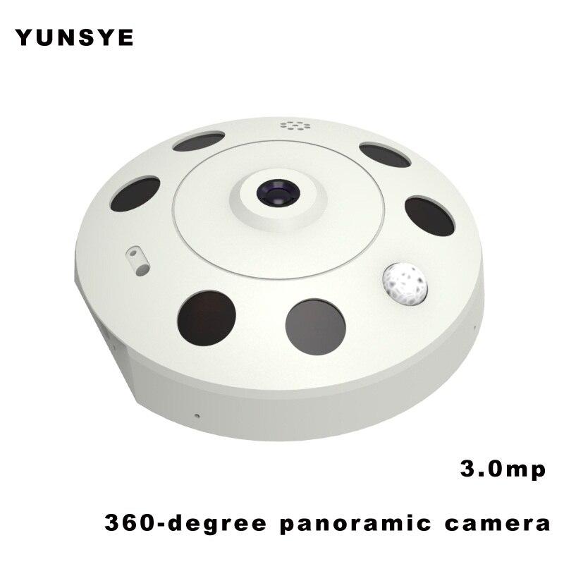 3.0mp caméra IP WIFI à domicile HD 3MP alarme d'activité Audio bidirectionnelle YUNSYE IP intelligente Webcam WIFI 360 degrés caméra panoramique coupe IR