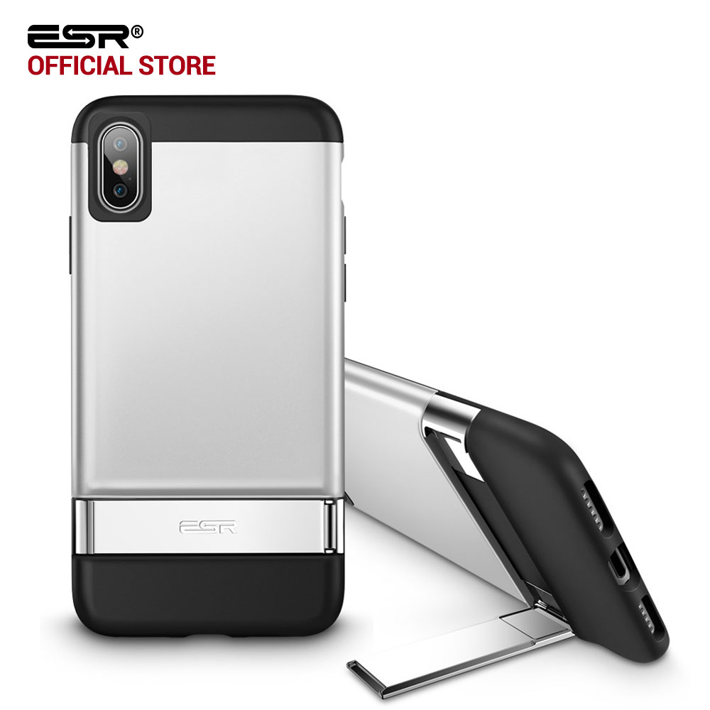Case for iphone X, ESR Metal Kickstand Case,ESR [Vertical Horizontal Stand] Hard PC Bumper Cover for iPhoneX 10 5.8 inches 2017