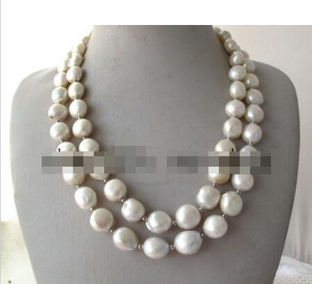 FREE SHIPPING>>> FREE SHIPPING>>> Double White Unusual Baroque Keshi KEISHI Freshwater Pearl Necklace