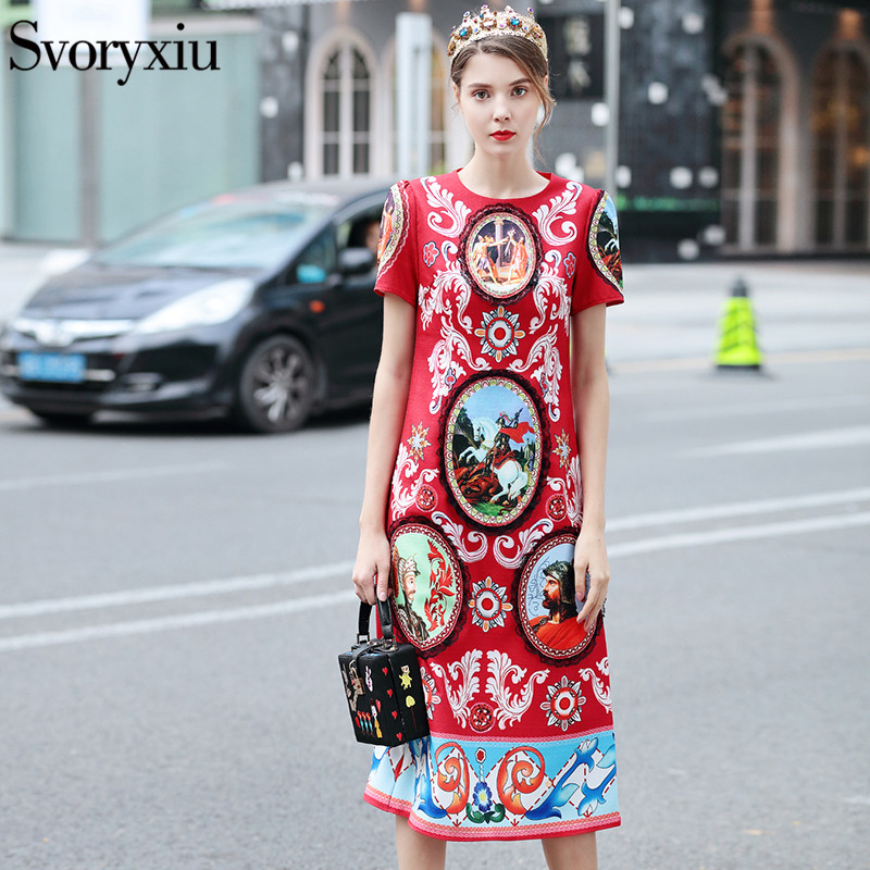 SVORYXIU Vintage Print Runway Long Dress Women High Quality Short Sleeve Autumn Winter Lace Mid Calf
