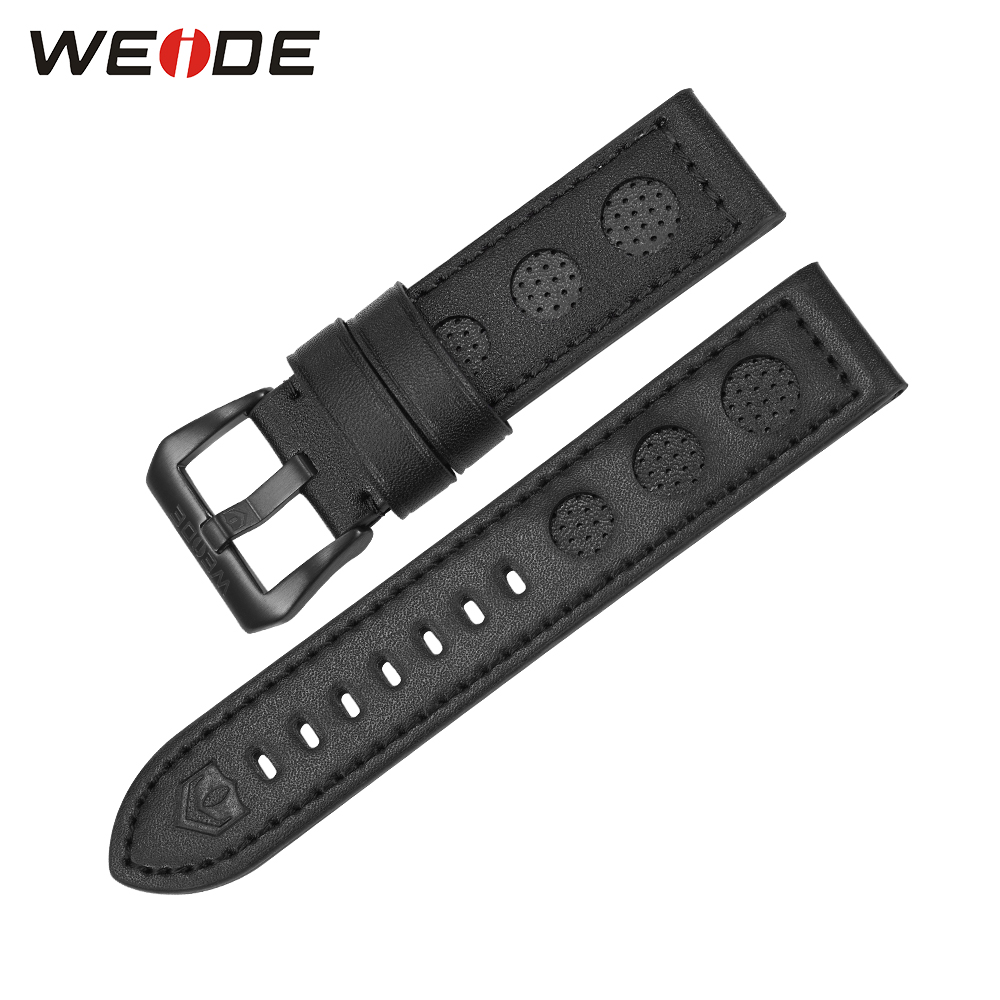 WEIDE Luxury Brand Casual Genuine Leather Watch Strap Black Color Stainless Steel Buckle 22mm Men Fashion Leather Watch Band maikes new product durable genuine leather watch band 19mm 20mm 22mm black casual watch strap stainless steel buckle for tissot