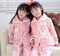 Crianças inverno Pijamas de Flanela Pijamas Meninas Meninos Pijama Coral do Velo Crianças Pijama Define 3-13Y Roupa Dos Miúdos Pijamas/Homewear