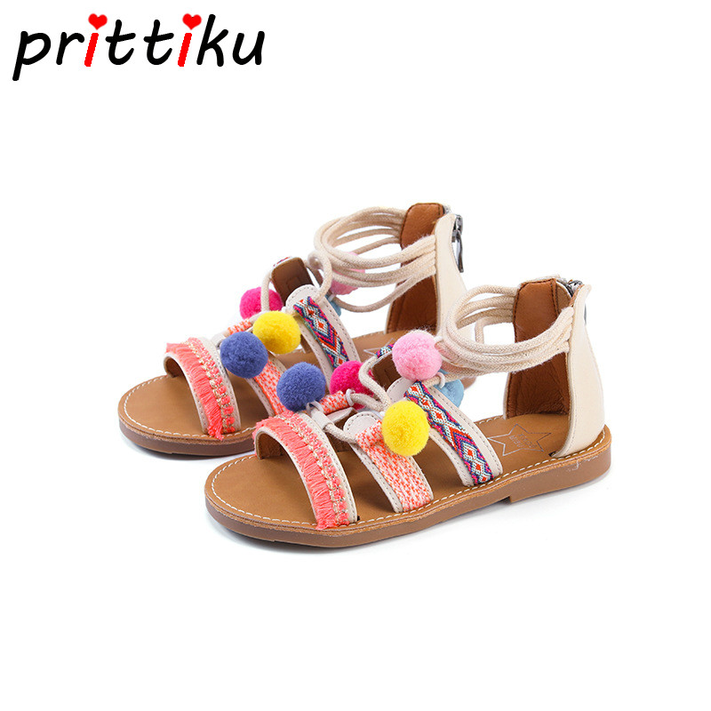 Summer 2018 Toddler Girl Bohemian Gladiator Sandals Little Kid Fashion Poms Flats  Children PU Leather Zip Brand Princess Shoes-in Sandals from Mother   Kids  ... a56a4b01b0b0