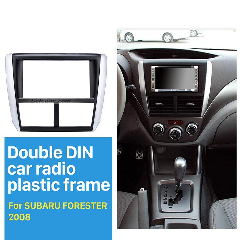 Seicane Double Din Autoradio Fascia pour 2008-2013 Subaru Forester Impreza Cadre de Montage Dash CD DVD GPS Surround panneau Noir