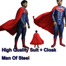 Movie Coser-5 High Quality Custom Made Super Hero Man Of Steel SuperMan Costume Movie Superman Costume Adult Spandex Lacya Suit