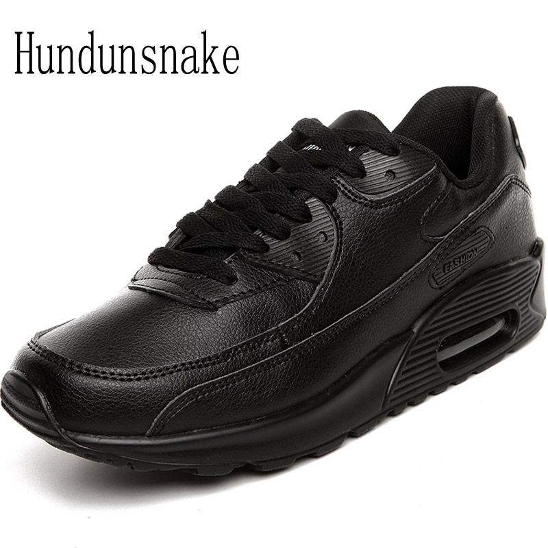 Hundunsnake Leather Sneakers Men Black Air Male Shoes Sport Adult Running Shoes For Men Krasovki 2018 Sneakers Women Gumshoes T6