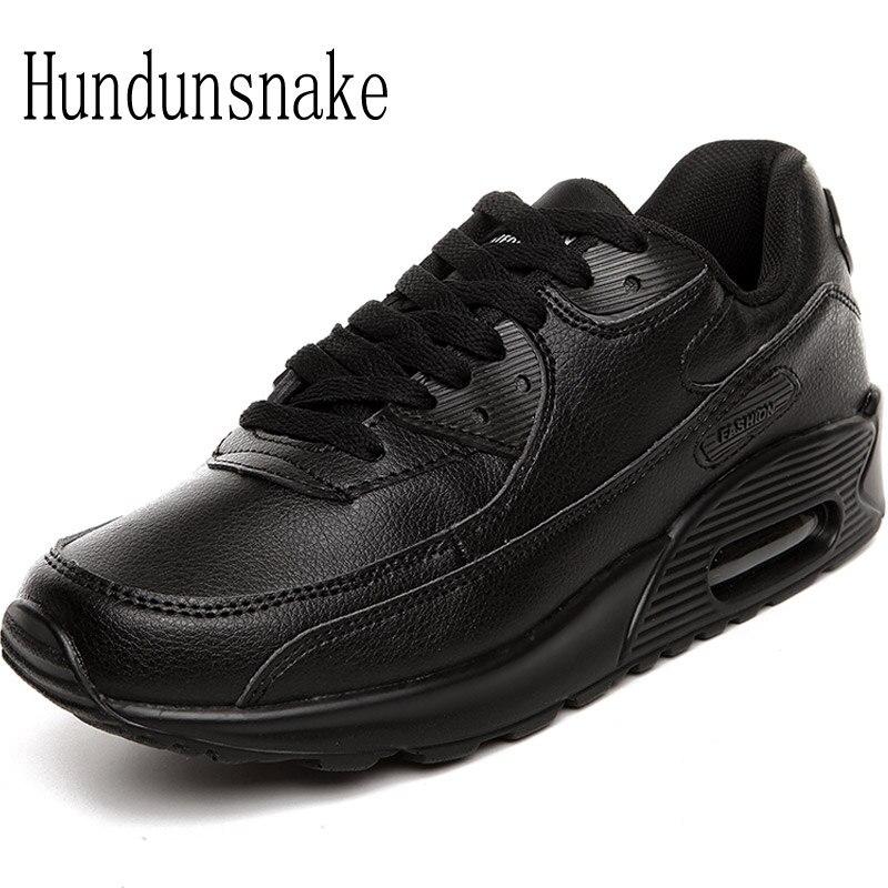 Hundunsnake Leather Sneakers Men Black Air Male Shoes Sport Adult Running Shoes For Men Krasovki 2018 Sneakers Women Gumshoes T6