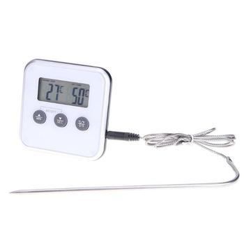 Electronic Food Thermometer with LCD Display and Timer to Measure Temperature of Cooked Meat Fish Milk Most Useful for BBQ