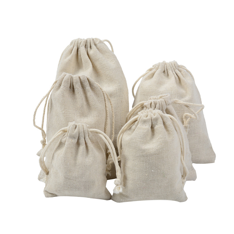 Handmade Drawstring Bag Travel Drawstring Pouch Pure Cotton Linen Mini Cloth Bag Storage Bag For Christmas Gift Package