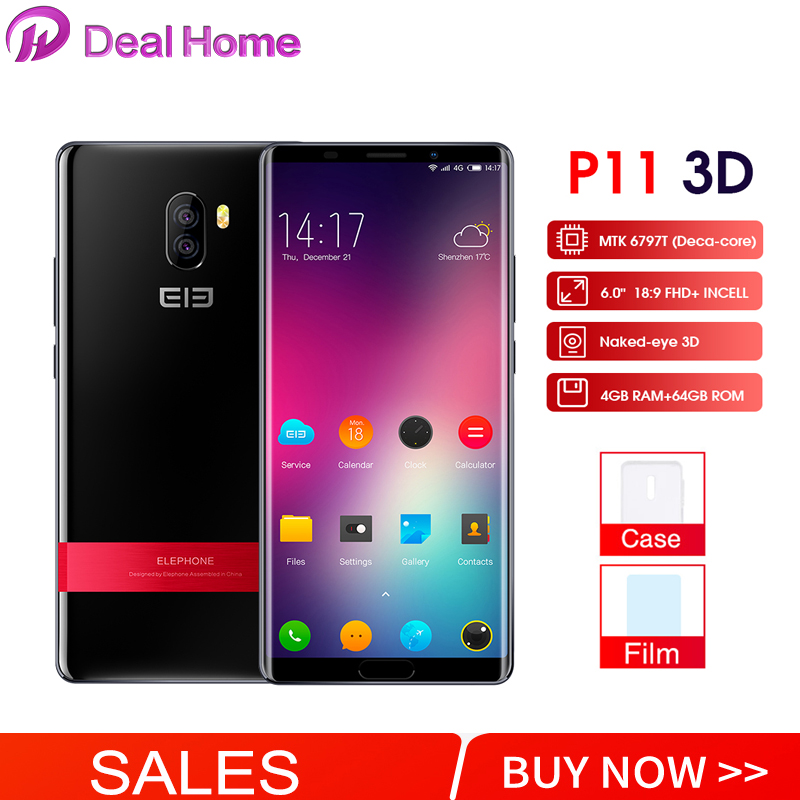 Elephone P11 3D 6.0 Inch FHD+ Android 8.0  MTK6797T Deca Core Smartphone 4GB 64GB 16MP+8MP 3200mah 4G Mobile PhoneElephone P11 3D 6.0 Inch FHD+ Android 8.0  MTK6797T Deca Core Smartphone 4GB 64GB 16MP+8MP 3200mah 4G Mobile Phone