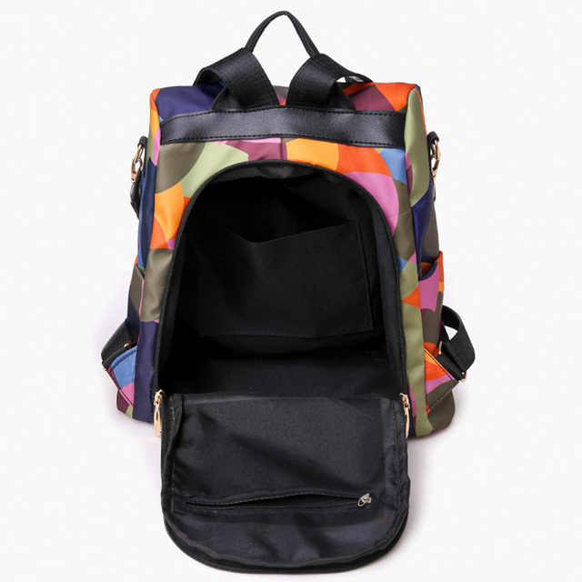 High Quality Waterproof Oxford Women Backpack Fashion Colored circles 3