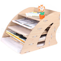 Wooden A4 paper file management storage box desktop office finishing grid multi cell rack