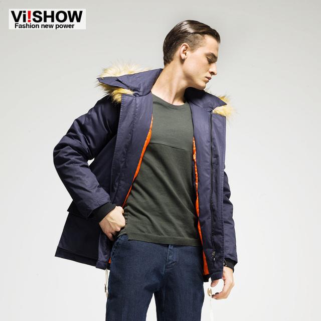2016 nuevo llegado marca de hombre escudo, largo ocasional hombres chaqueta de invierno cálido, hombres encapuchados de la piel de la marina de guerra de la capa ocasional del abrigo de algodón acolchado