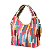 2018 Genuine Leather Hobo Tote Bags Colorful Patchwork Messenger Bags For Ladies Luxury Designer Women Handbags Sac A Main ZY06
