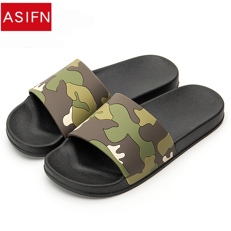 d4dc95f46fabf US $13.99 30% OFF ASIFN Men Camo Slippers Slides Summer Casual Style Shoes  Non slip Indoor and Outdoor Sandals Home Sapato Masculino Flip Flops-in ...
