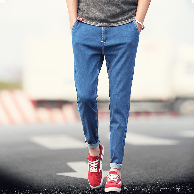 Aliexpress.com  Buy New 2016 Summer Mens Jeans Solid Black Blue Ankle Length Pants Korean ...