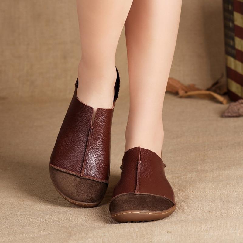 (35-42) Zapatos de Las Mujeres Más El Tamaño de Cuero Genuino Plana Zapatos Casu