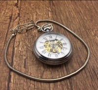 Silver Gold Pocket Watch Men Women Unisex Mechanical Hand winding Watch Xmas Gift #92741