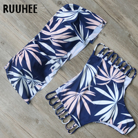 RUUHEE Sexy Bikini Swimsuit Swimwear Women Bikini Set Strapless Ruffle Bathing Suit Push Up 2017 Beachwear