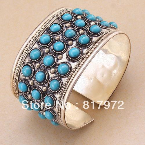 Chaude De Mode pierre howlite perle plus bling perlée incrustation tibet argent de qualité bracelet manchette Parti Réglable Cadeau & 6YB00034