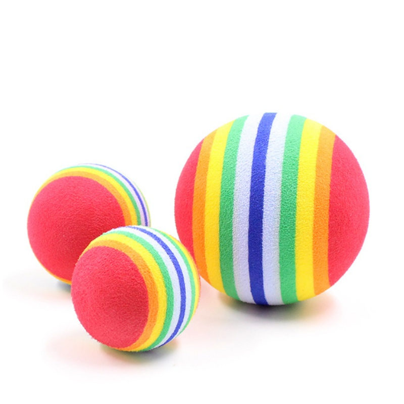 5Pcs Pet Cat Toy EVA Rainbow Colorful Foam Ball Molar Tooth Chew Ball Interactive Training Kitten Puppy Small Dog Teeth Treat