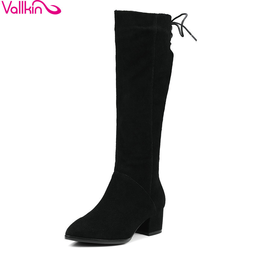 VALLKIN 2018 Women Boots Western Style High Heel Knee-high Boots Pointed Toe Spring Autumn Square Heel Ladies Boots Size 34-39 spring autumn new fashion women pointed toe patchwork color ankle high heel boots western style elegant dress boots