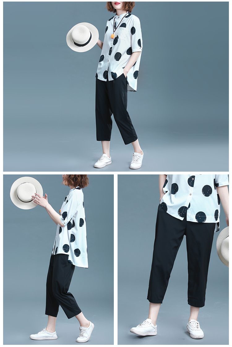 2019 Summer Cotton Linen Two Piece Sets Outfits Women Plus Size Dot Print Shirts And Pants Suits Casual Vintage 2 Piece Sets 38