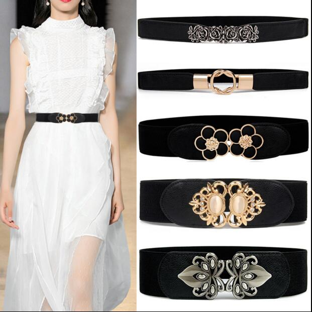 Webcasts Heat Vintage Rose Gold Leaves Buckle Women's Elastic Waist Wide Belt Fashion