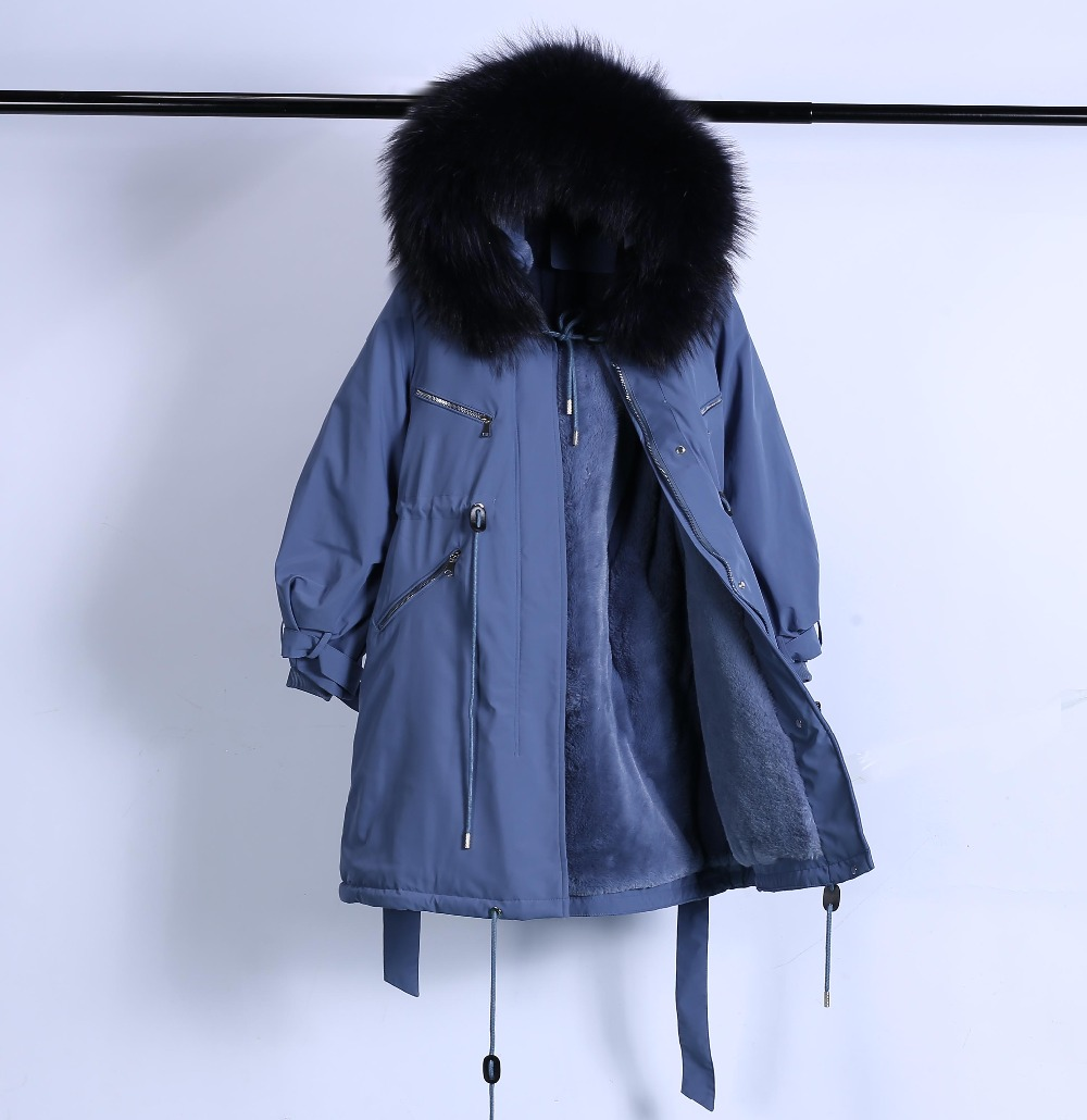 Large Natural Raccoon Fur Winter Jacket Women Hooded 19 Long Parkas For Female Thick Slim Down Winter Coat Women Waterproof 50