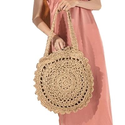 Bolsas de paja de cuerda de papel bohemio para mujer bolsos de playa de gran círculo Vintage de verano bolso de ratán hecho a mano bolsas de viaje